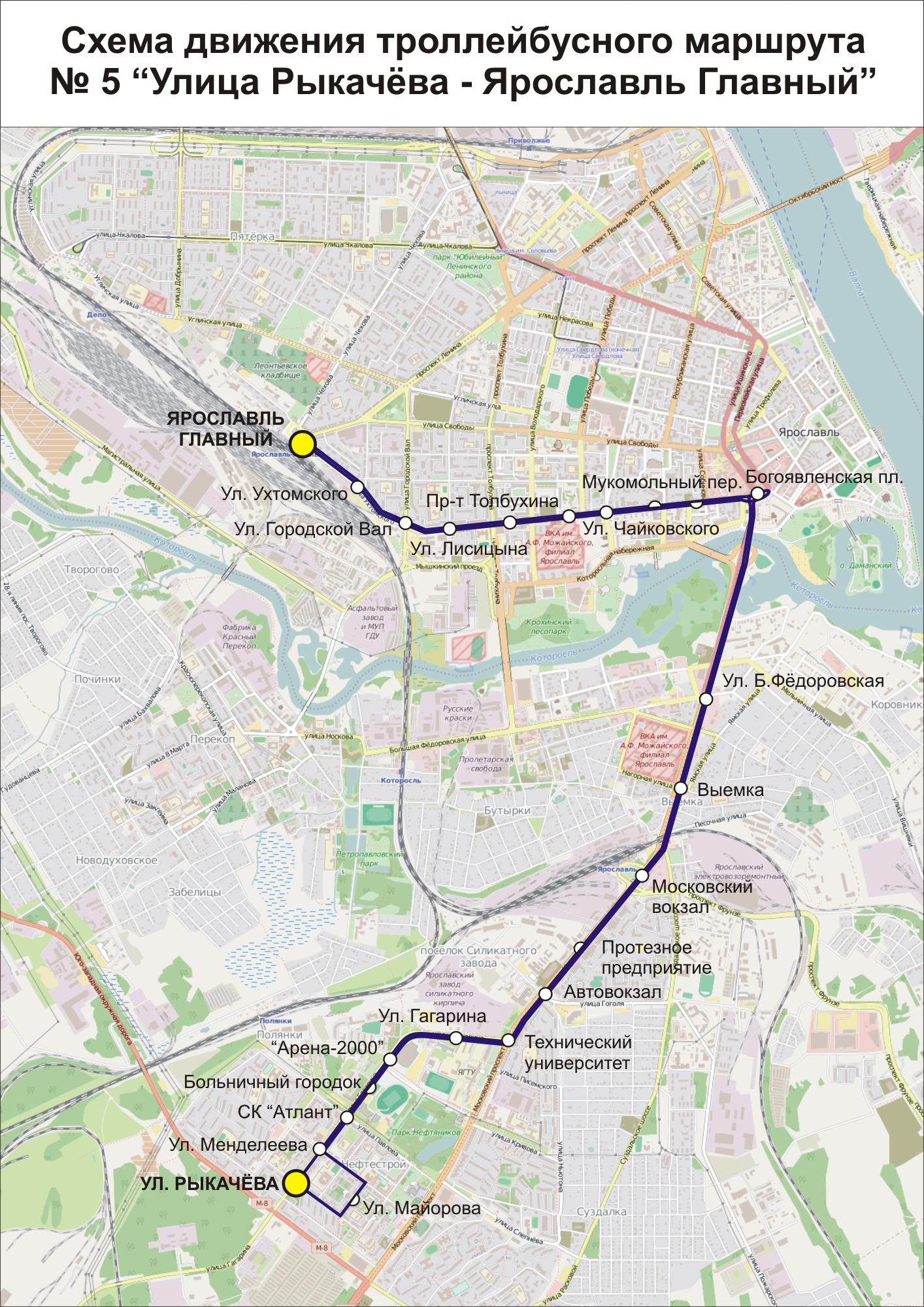 Схема троллейбусов в ярославле